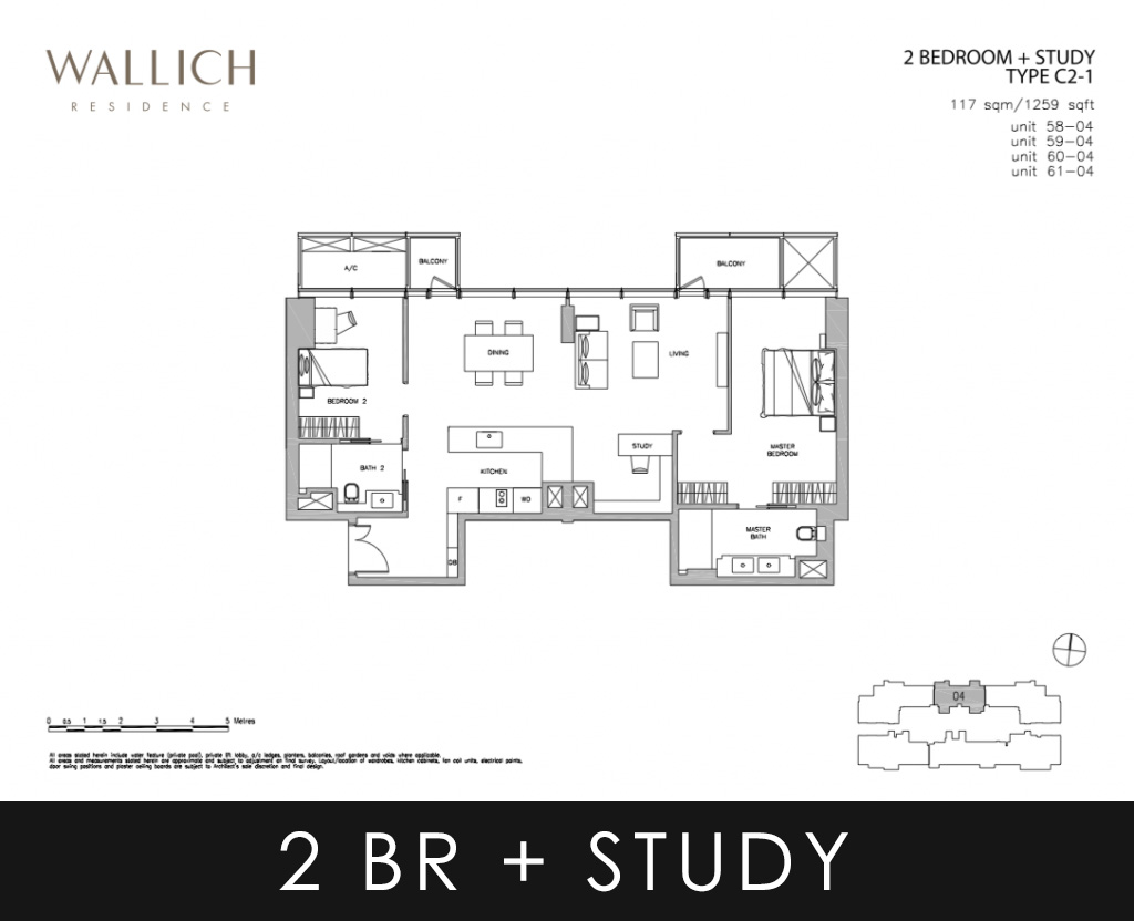 Wallich Residence Condo 2 Bedroom + Study Type C2-1 Floor Plans