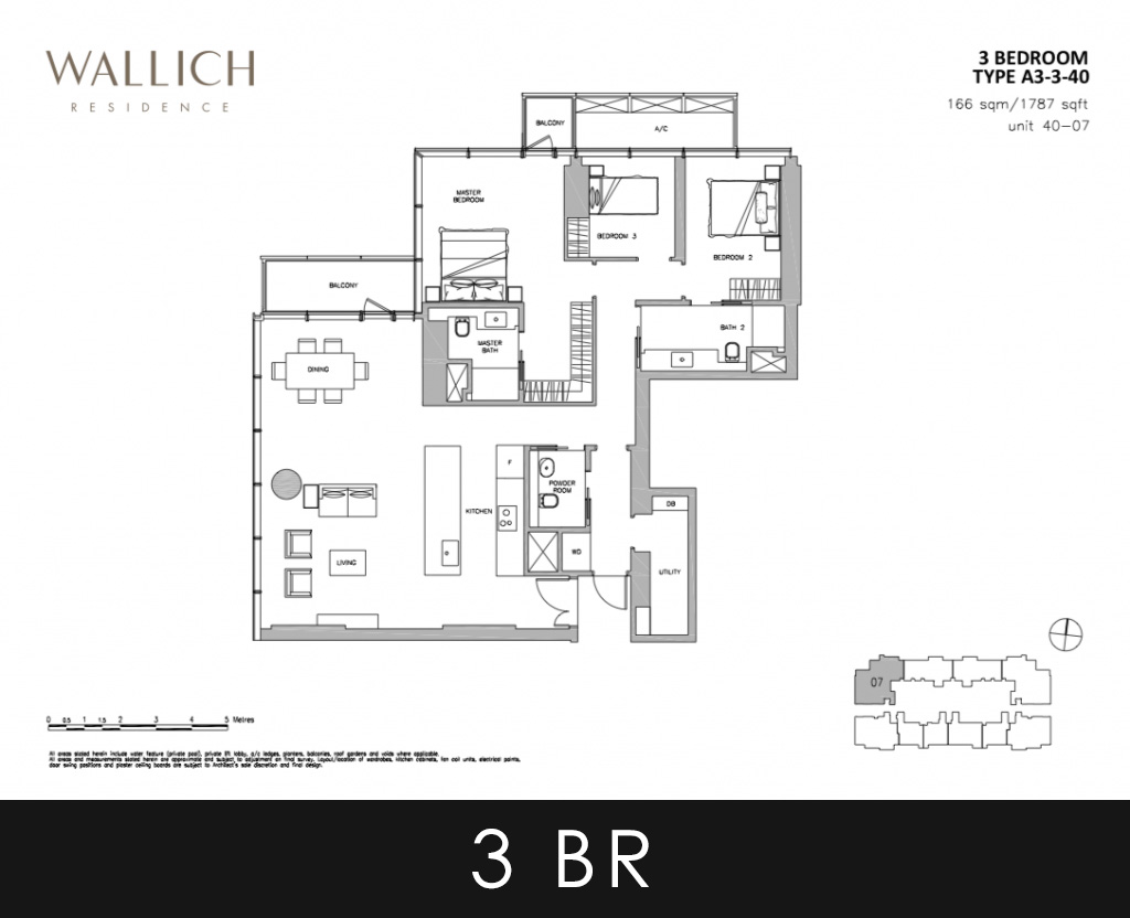 Wallich Residence 3 Bedroom Type A3-3 40 Floor Plans