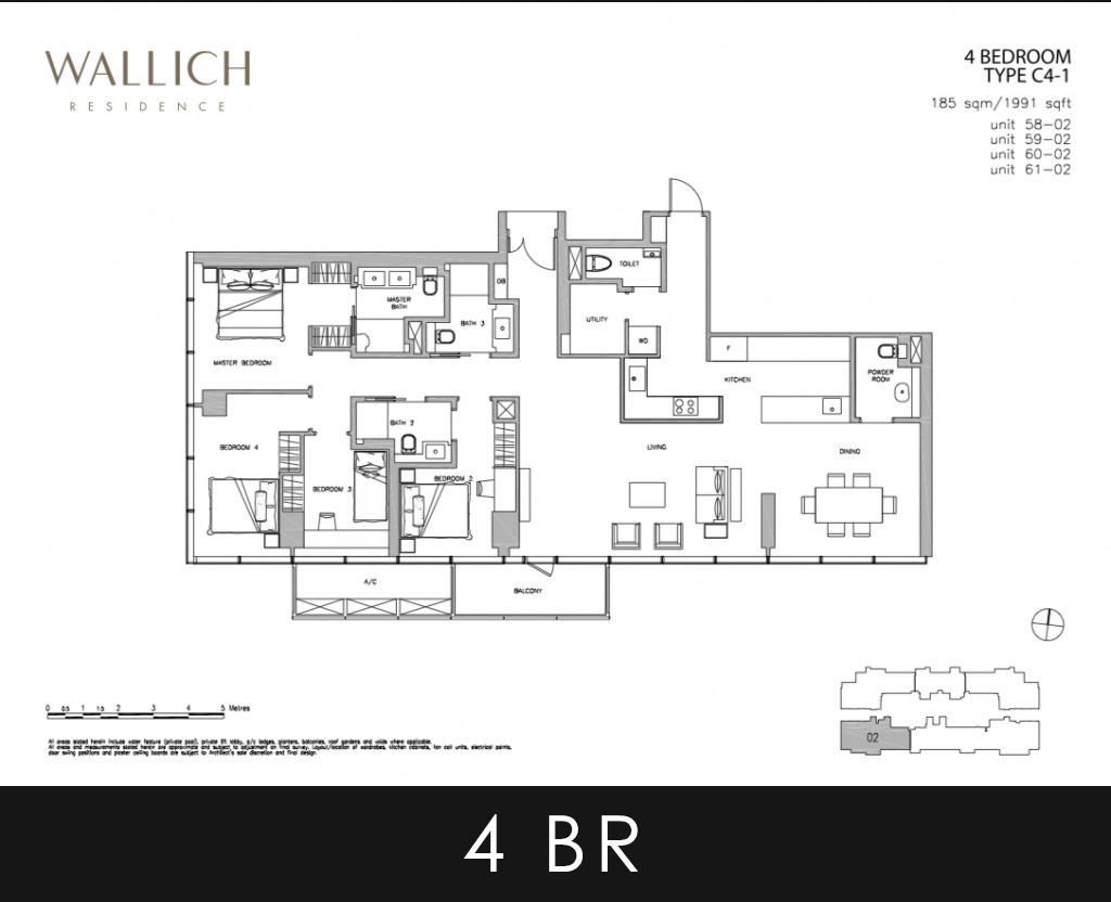 Wallich Residence 4 Bedroom Type C4-1 Floor Plans
