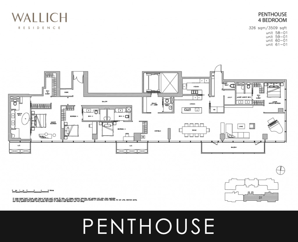 Wallich Residence Penthouse 4 Bedroom Floor Plans