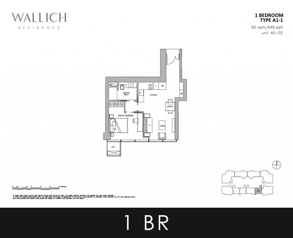 Wallich Residence Condo 1 Bedroom Type A1 Floor Plans